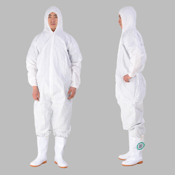 Waterproof-and-breathable-membrane-protective-clothing-Non-woven-coverall-Dust-visit-clothing-Conjoined-biohazard-white